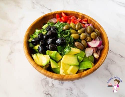 A salad bowl with avocado salad