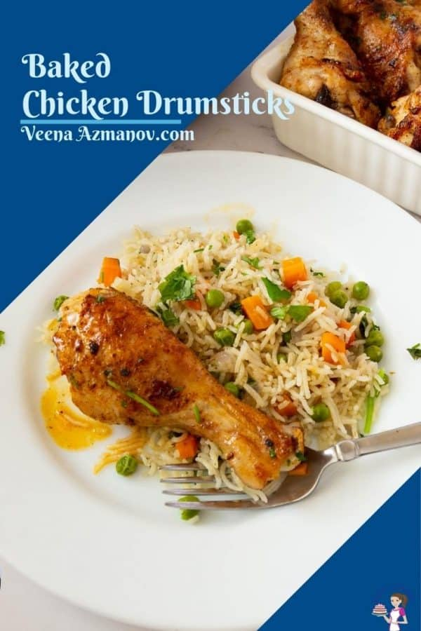 Pinterest image for baked chicken over rise