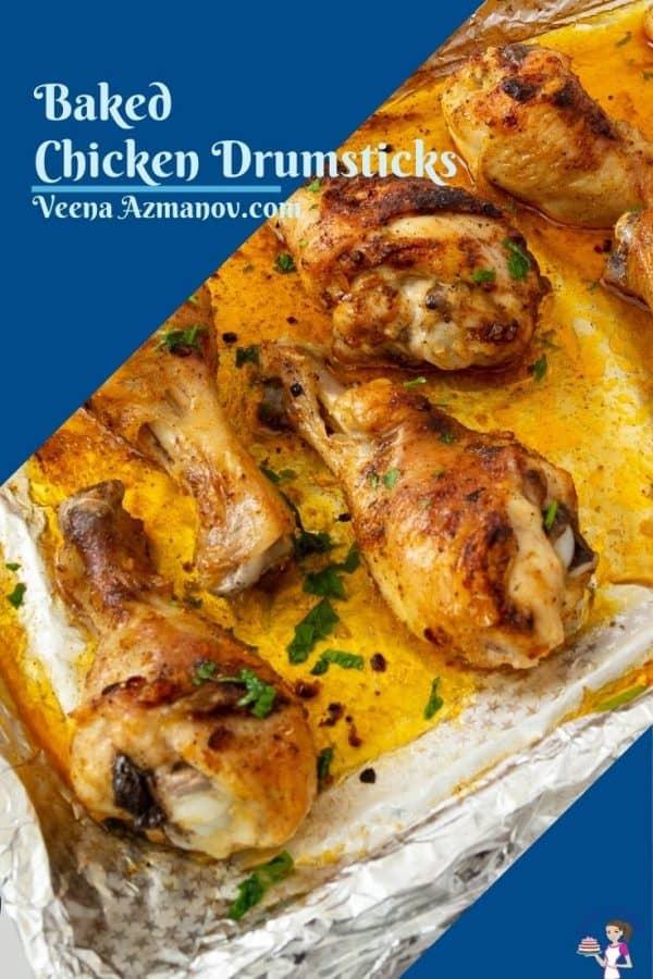 Pinterest image for baked chicken drumsticks