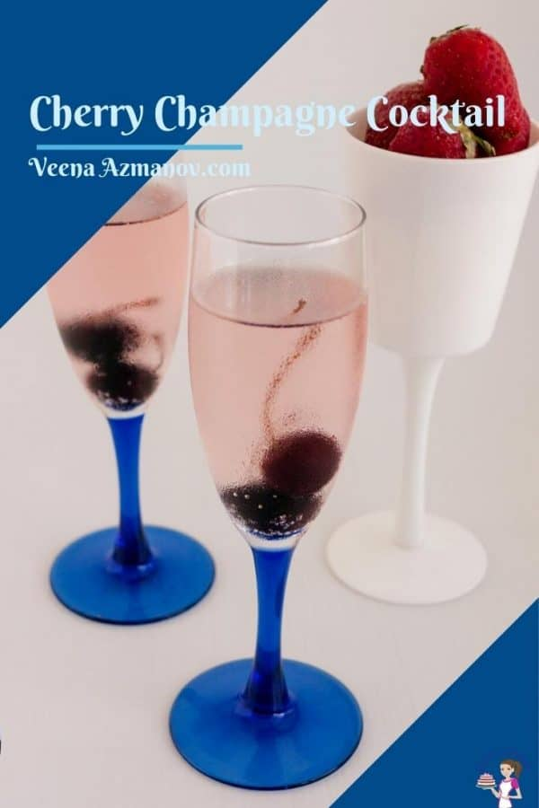 Pinterest image for cherry champagne cocktail