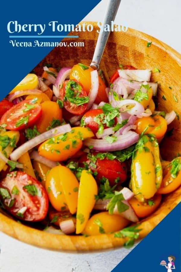 Pinterst image for cherry tomato salad