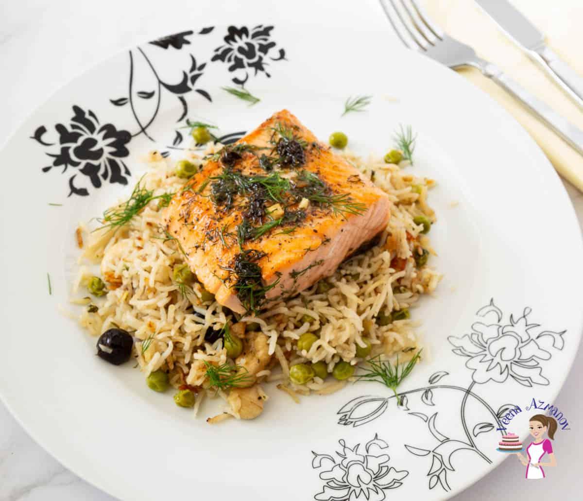 Pan fried Salmon on sauteed rice