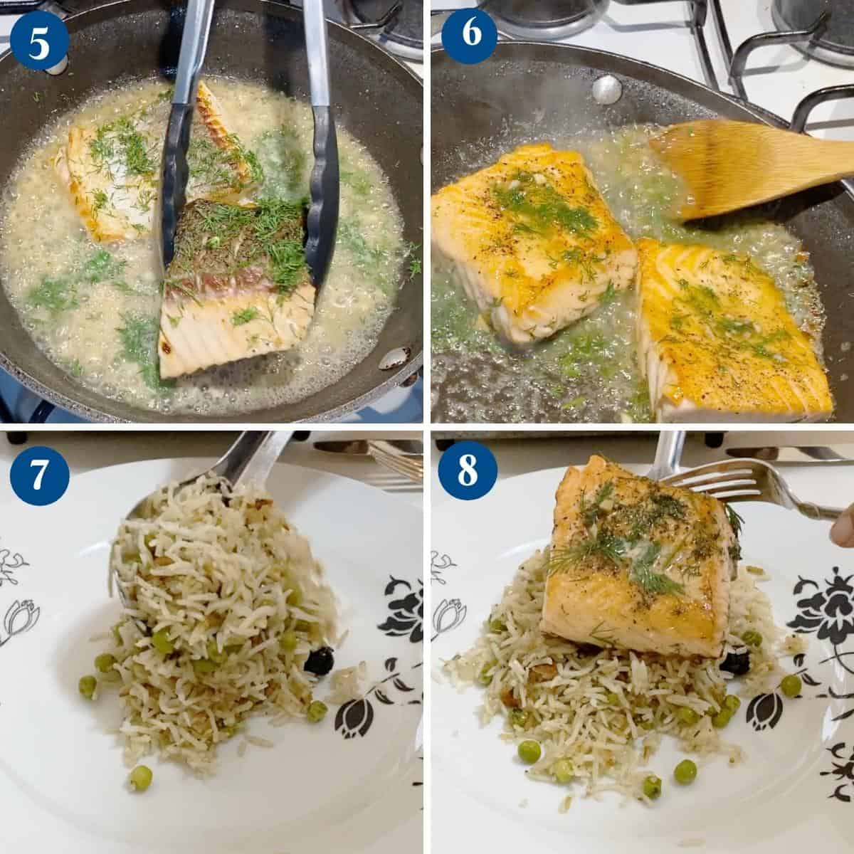 Progress pictures collage for garlic butter salmon.