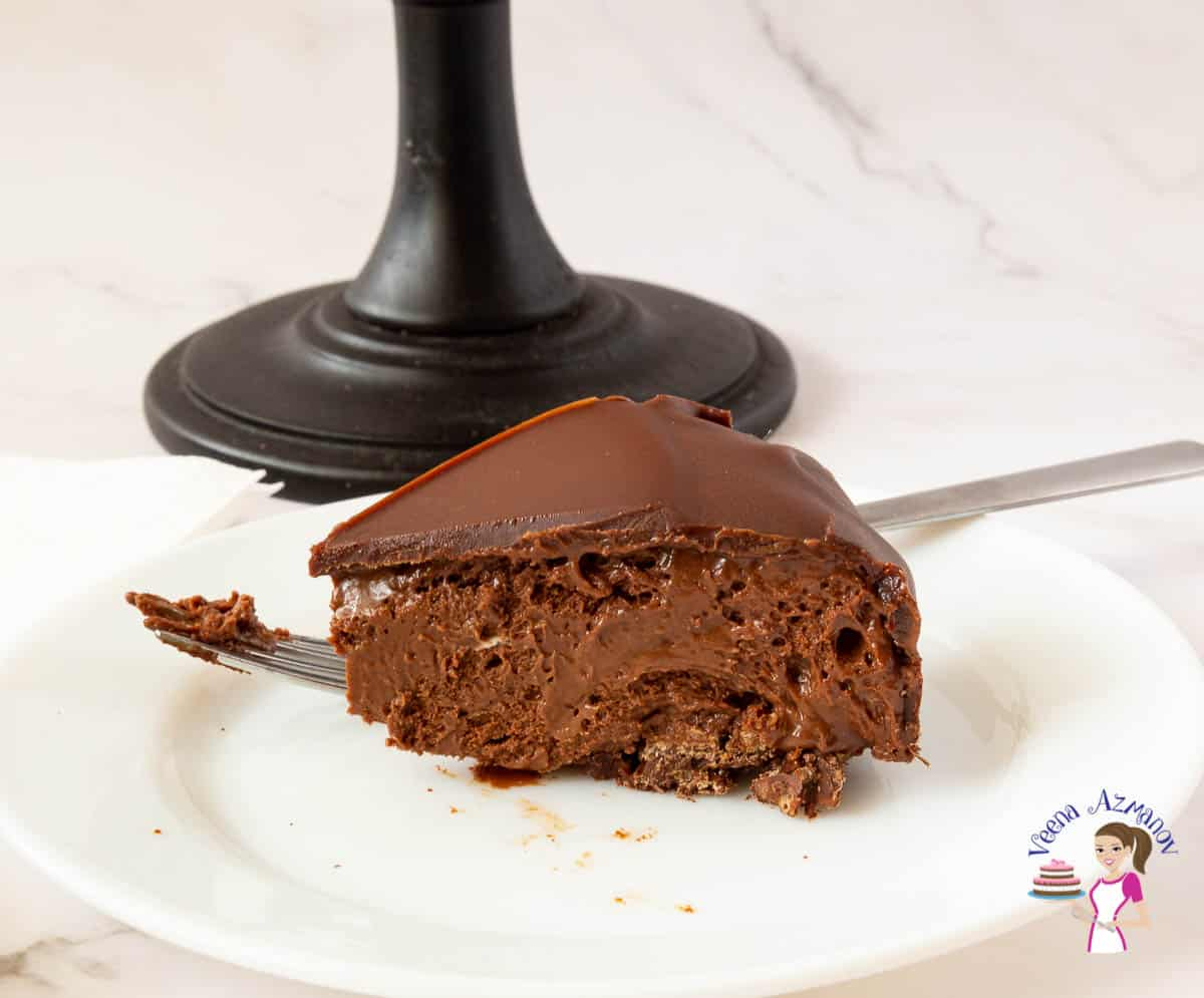 Chocolate mousse slice on a plate