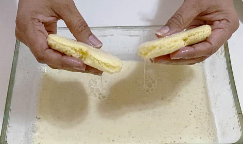 Dip the heart shape bread in milk