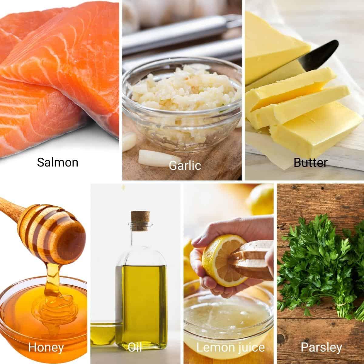 Ingredients shot collage for honey garlic salmon.