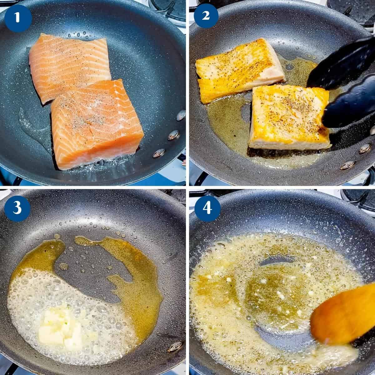 Progress pictures collage for honey garlic salmon.