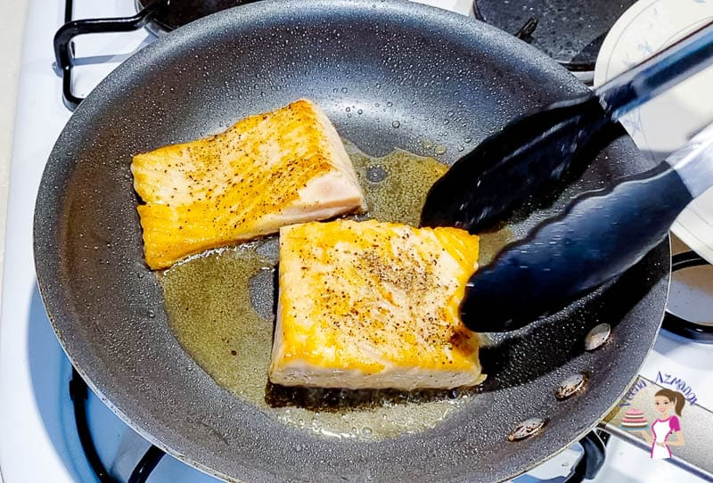 Searing the salmon on all sides