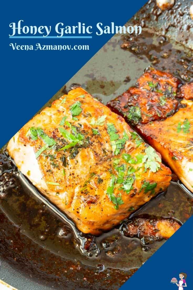 Pinterest image for pan fried salmon with honey and garlic