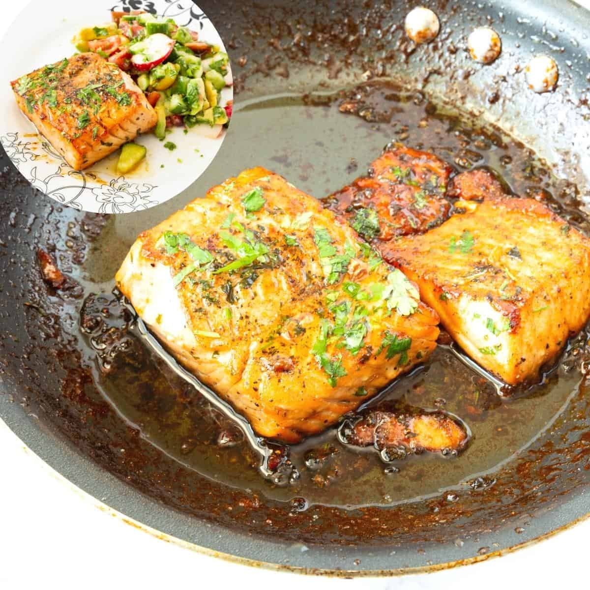 a skillet with salmon pan fried in garlic and honey.