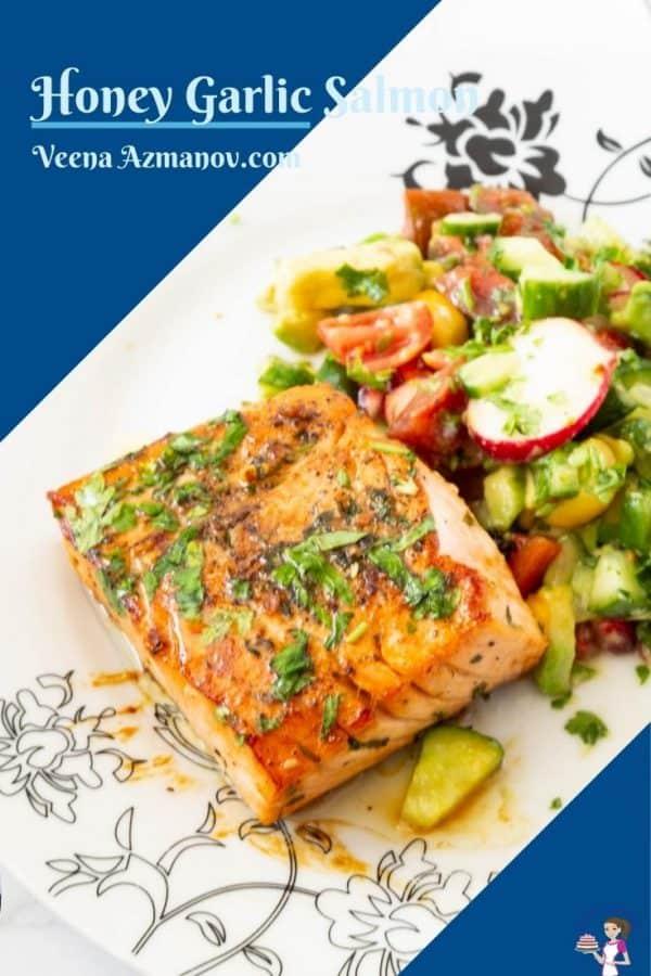 Pinterest image for honey garlic salmon
