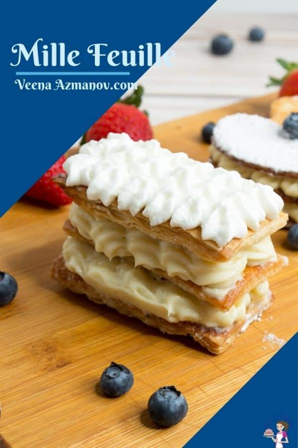 Pinterest image for French dessert Mille Feuille