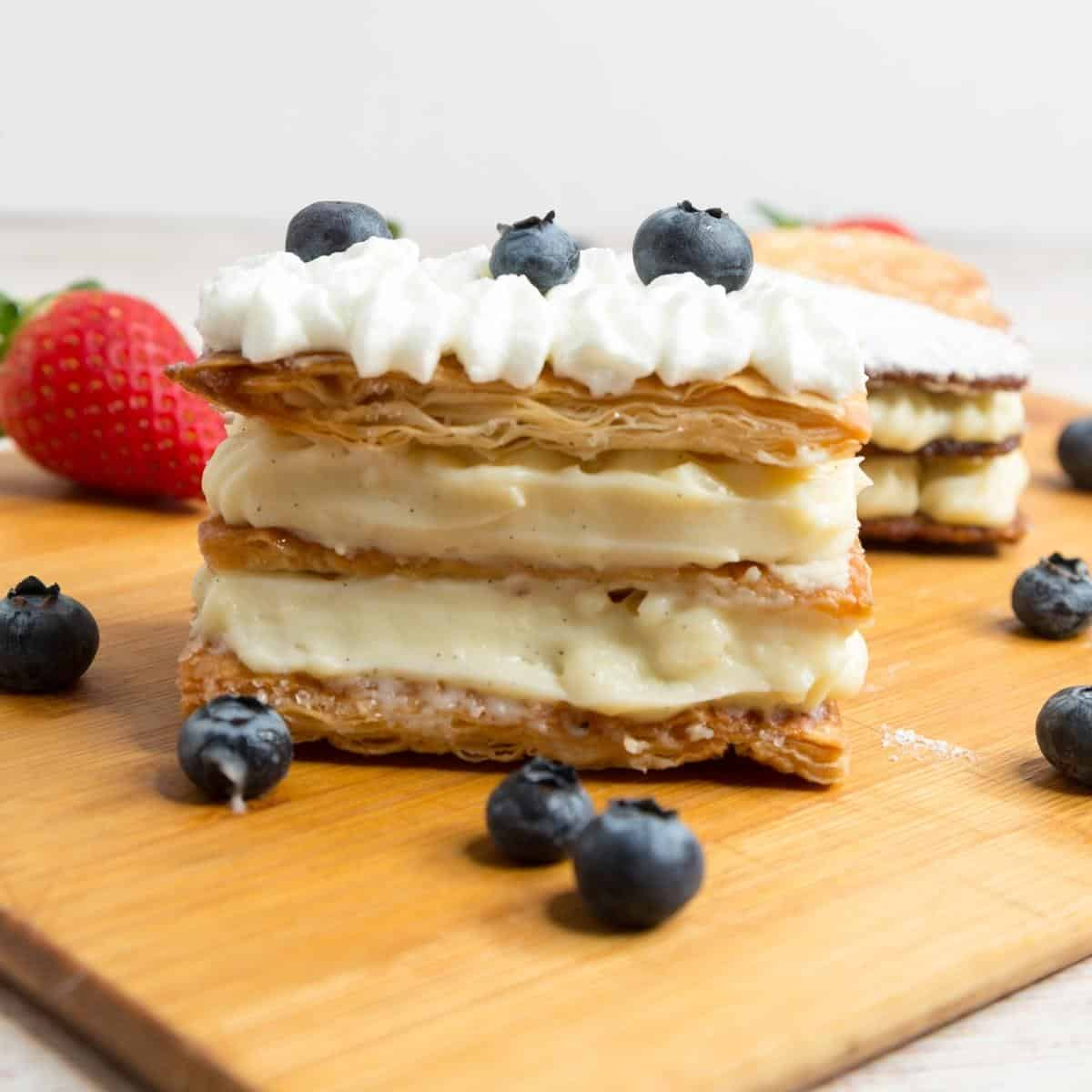 A layered puff pastry desserts Napoleon