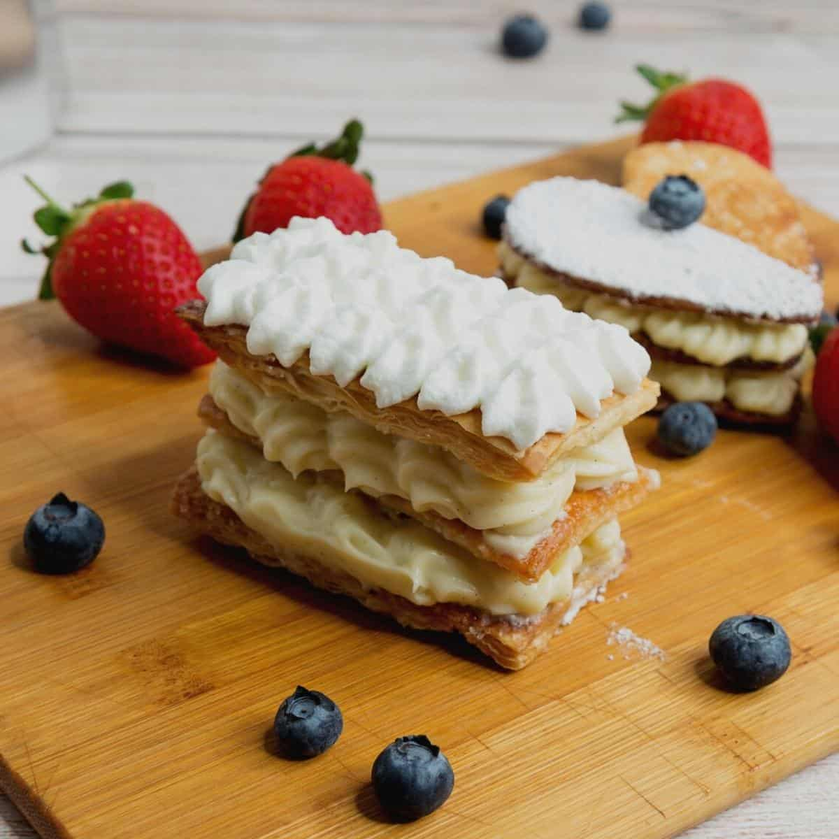 A puff pastry mille feuille with fruits