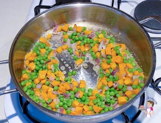 Saute the veggies for piaf