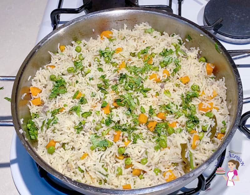 Garnish the rice pilaf with parsley or cilantro