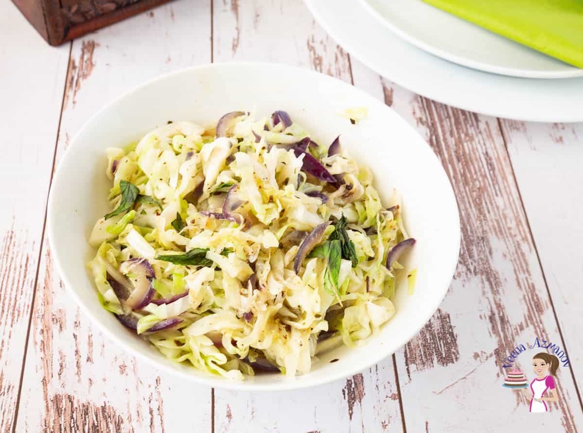 A bowl with sautéed cabbage