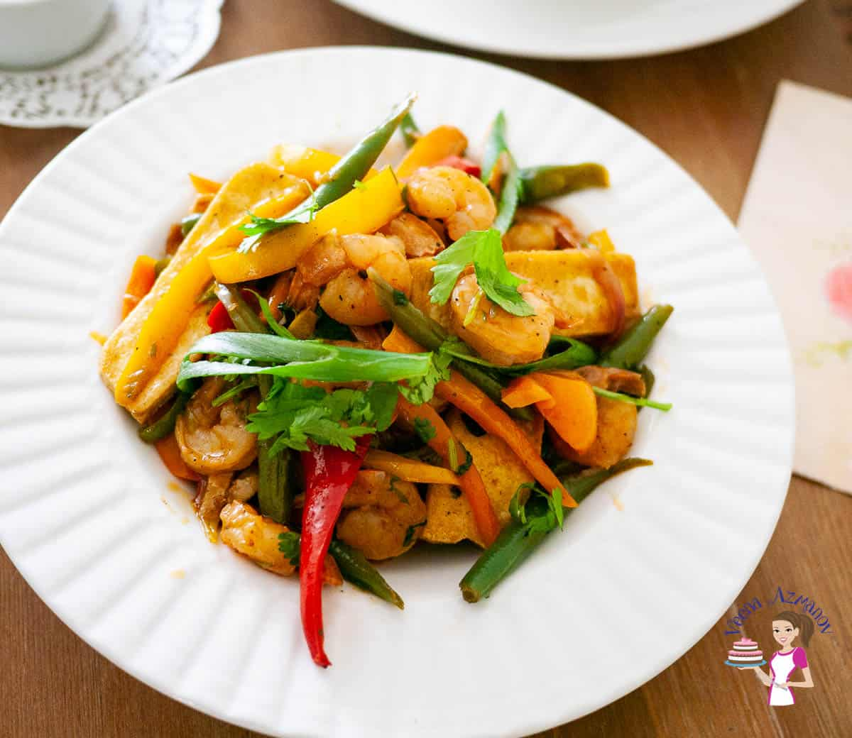 Stir fry with shrimps on a large plate