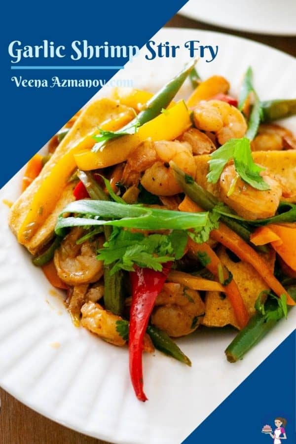 Pinterest image for stir fry with shrimps
