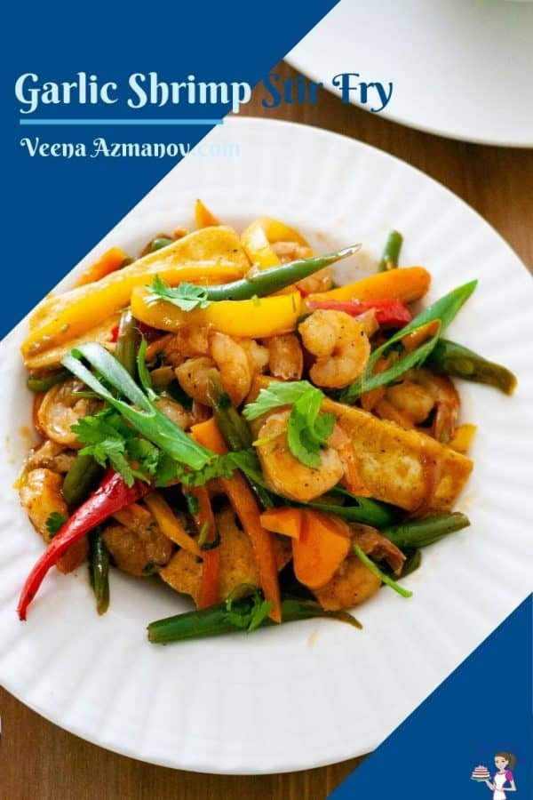 Pinterest image for stir fry with shrimp honey and garlic