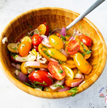 Cherry tomato salad in a salad bowl