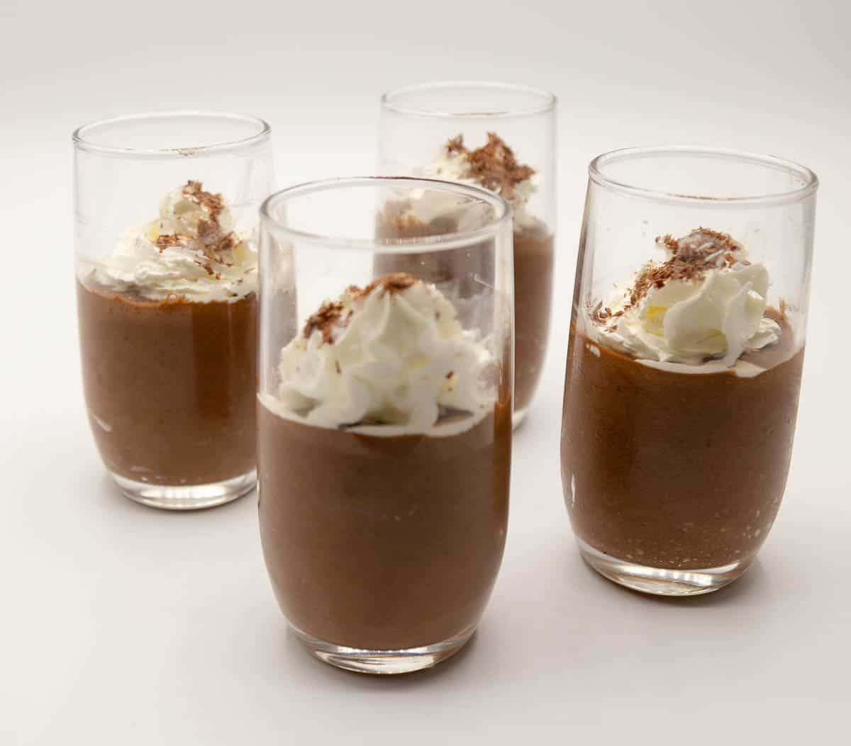 glasses of mousse on a table