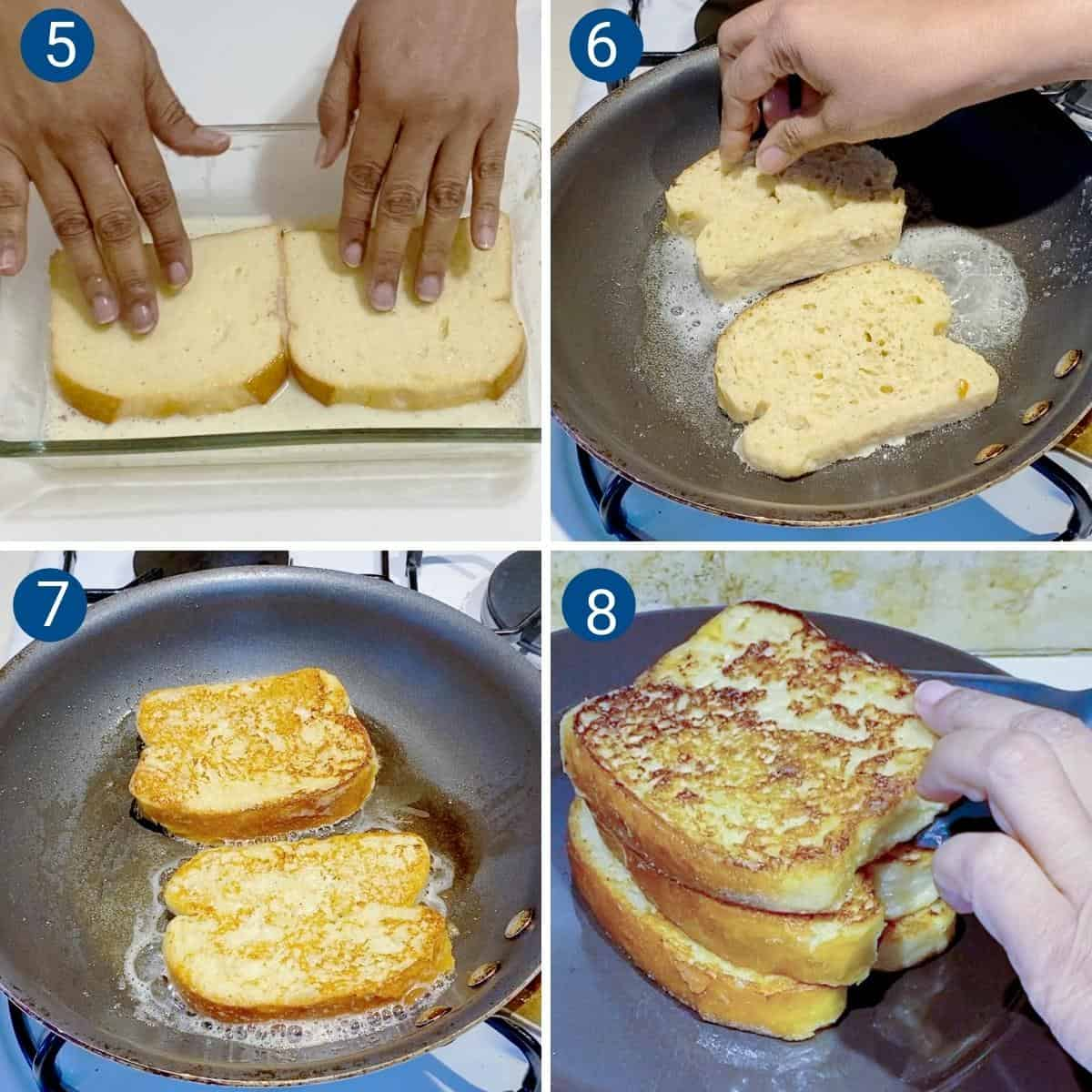 Progress pictures - soaking and cooking the French toast