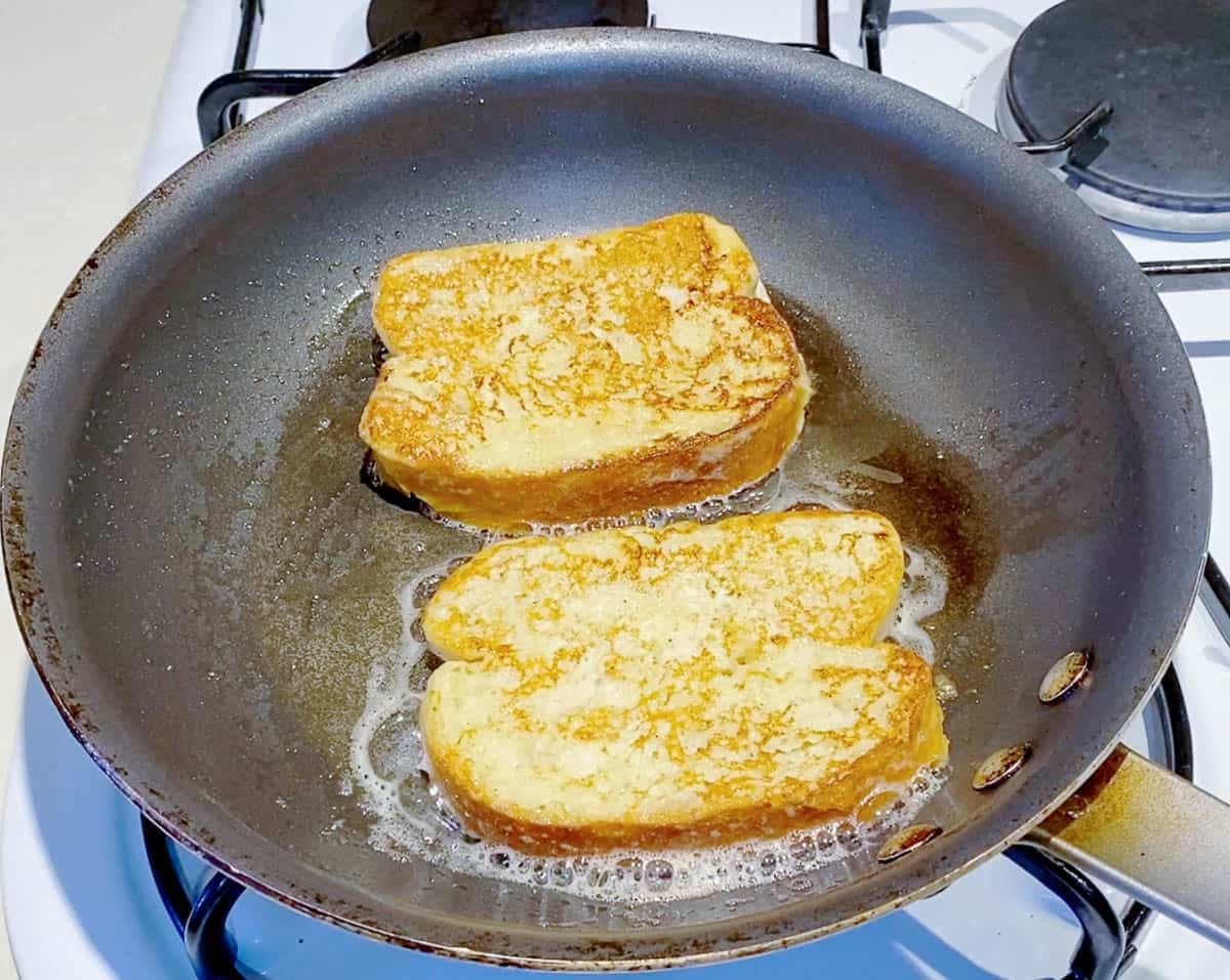 Flip the French toast and cook another 2 minutes