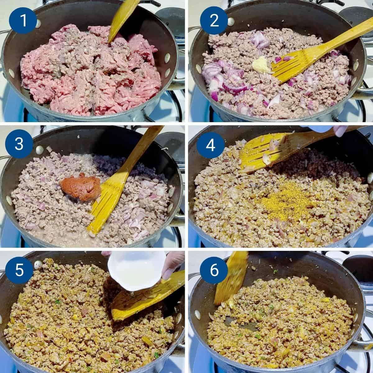 Progress pictures collage for ground beef tacos.
