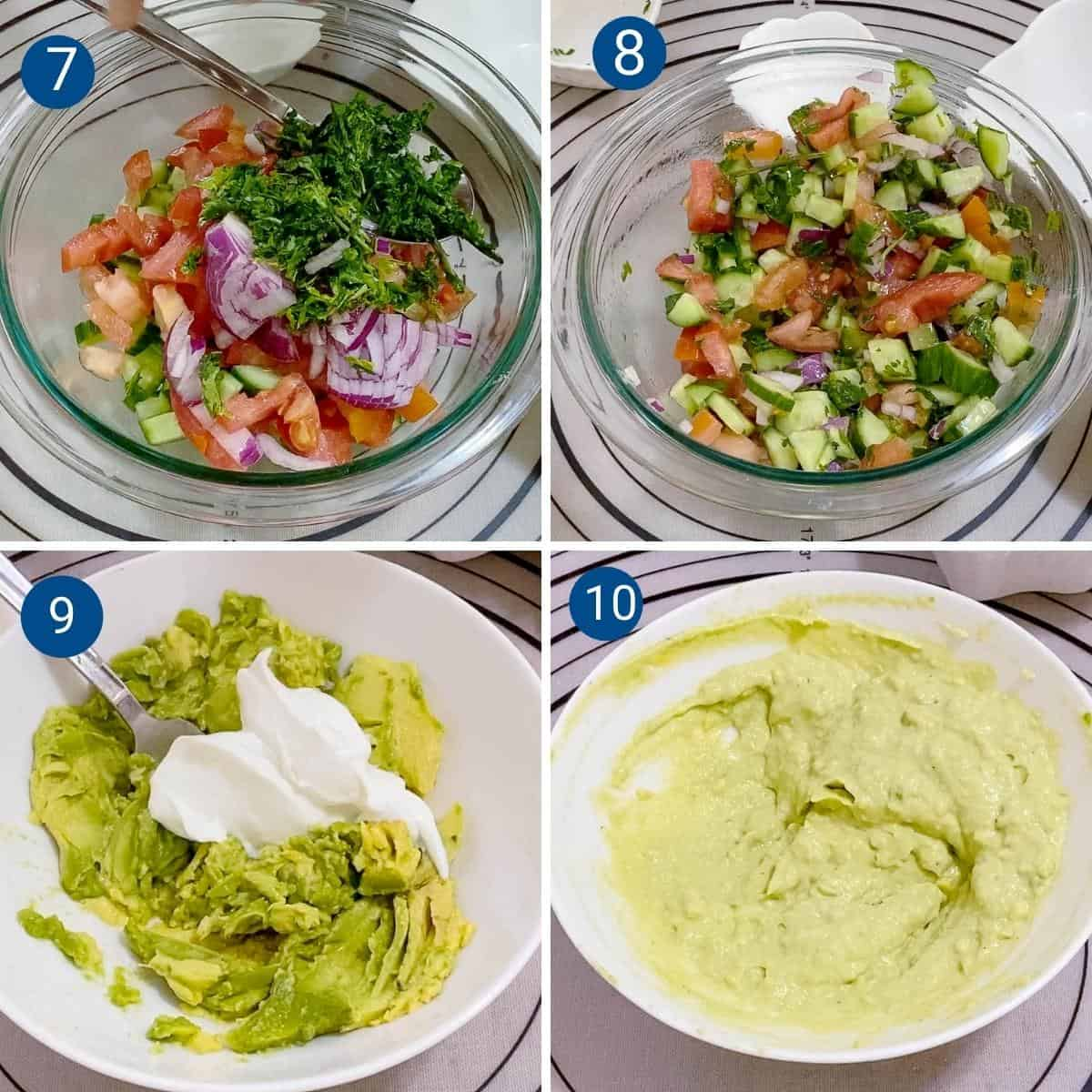 Progress pictures collage for salsa and guacamole.