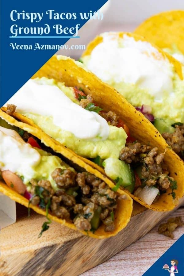 Pinterest image for Ground beef tacos.