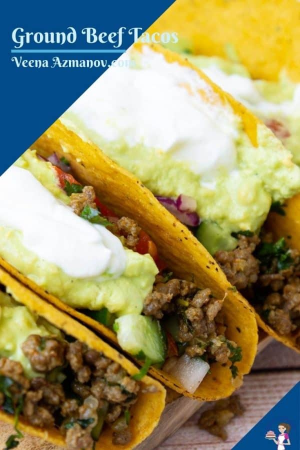Pinterest image for tacos with ground beef