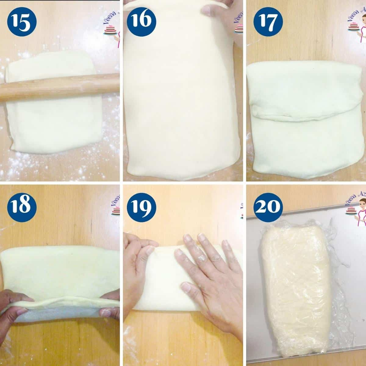 Progress pictures collage for folding puff pastry dough