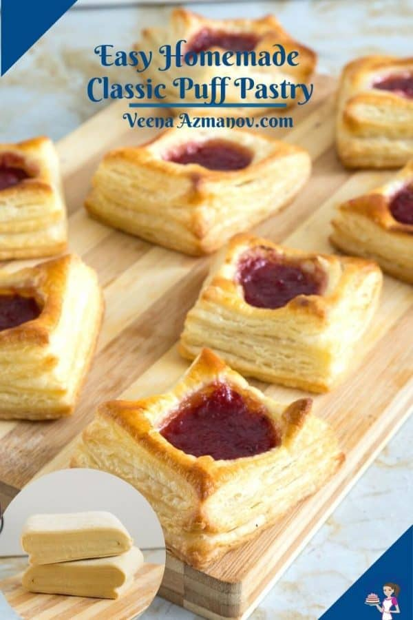 Pinterest image for puff pastry dough.