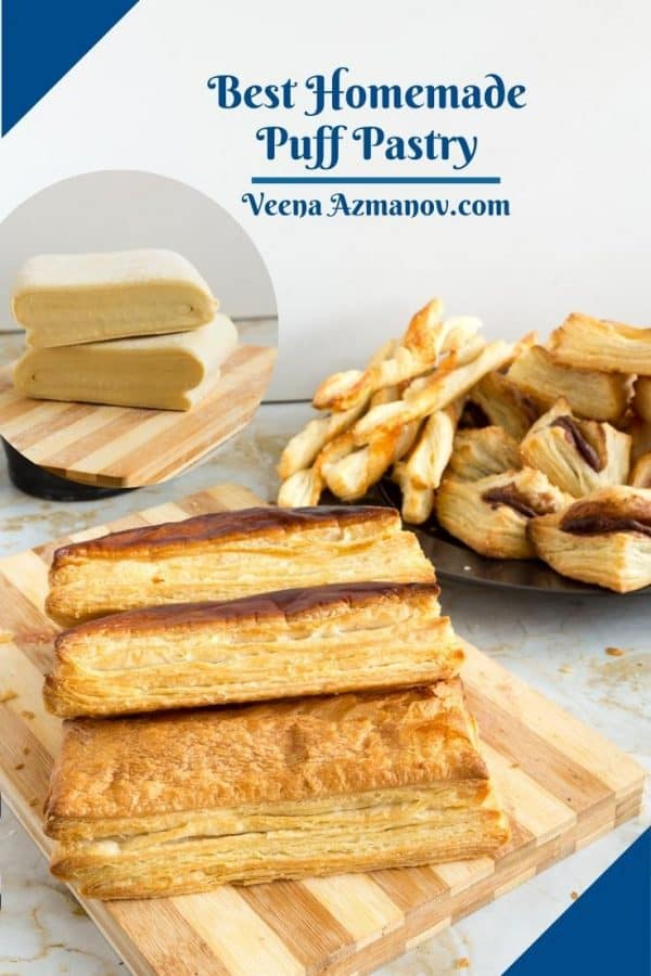 Pinterest image for making puff pastry dough from sctach.
