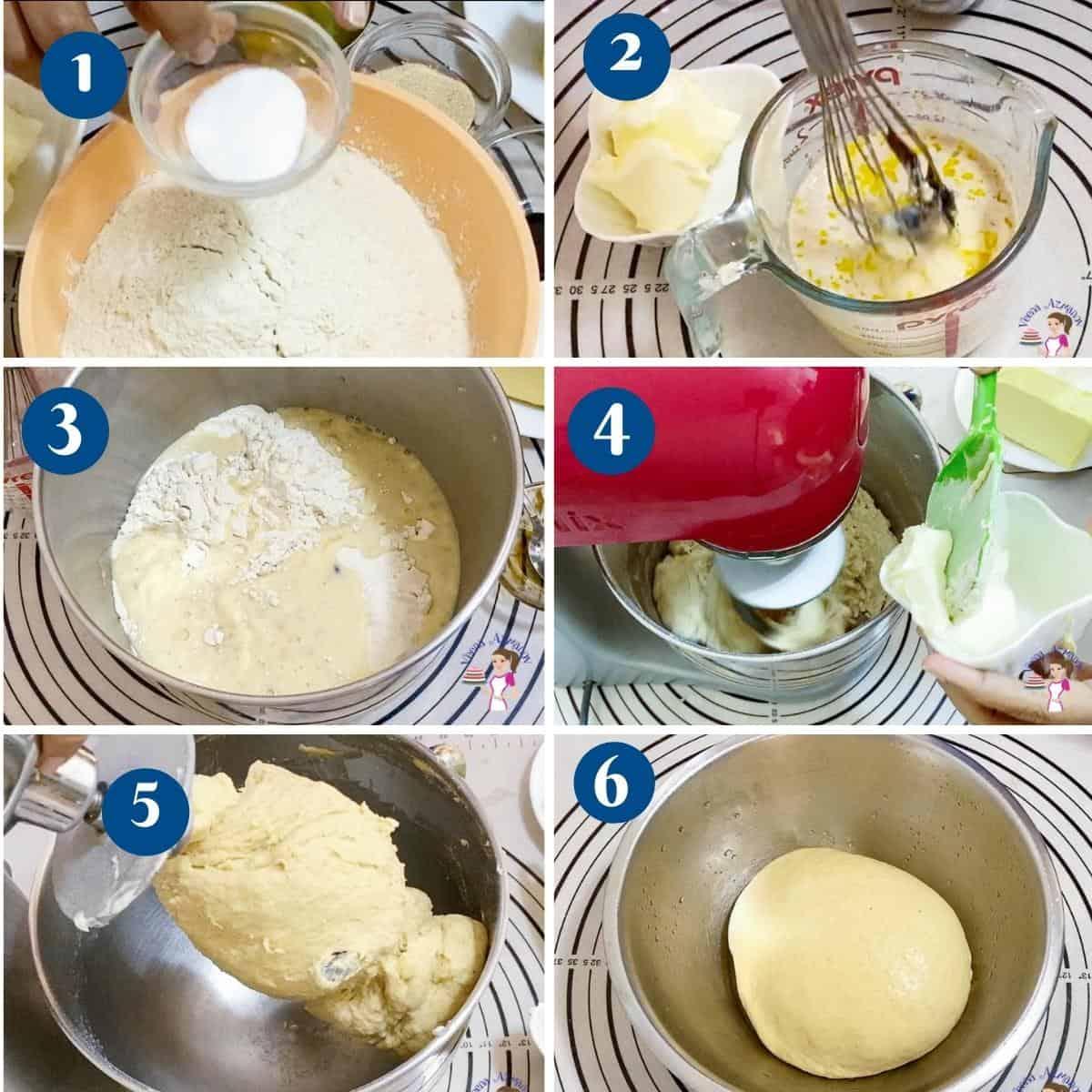 Progress Pictures preparing the Danish Dough for pastry.