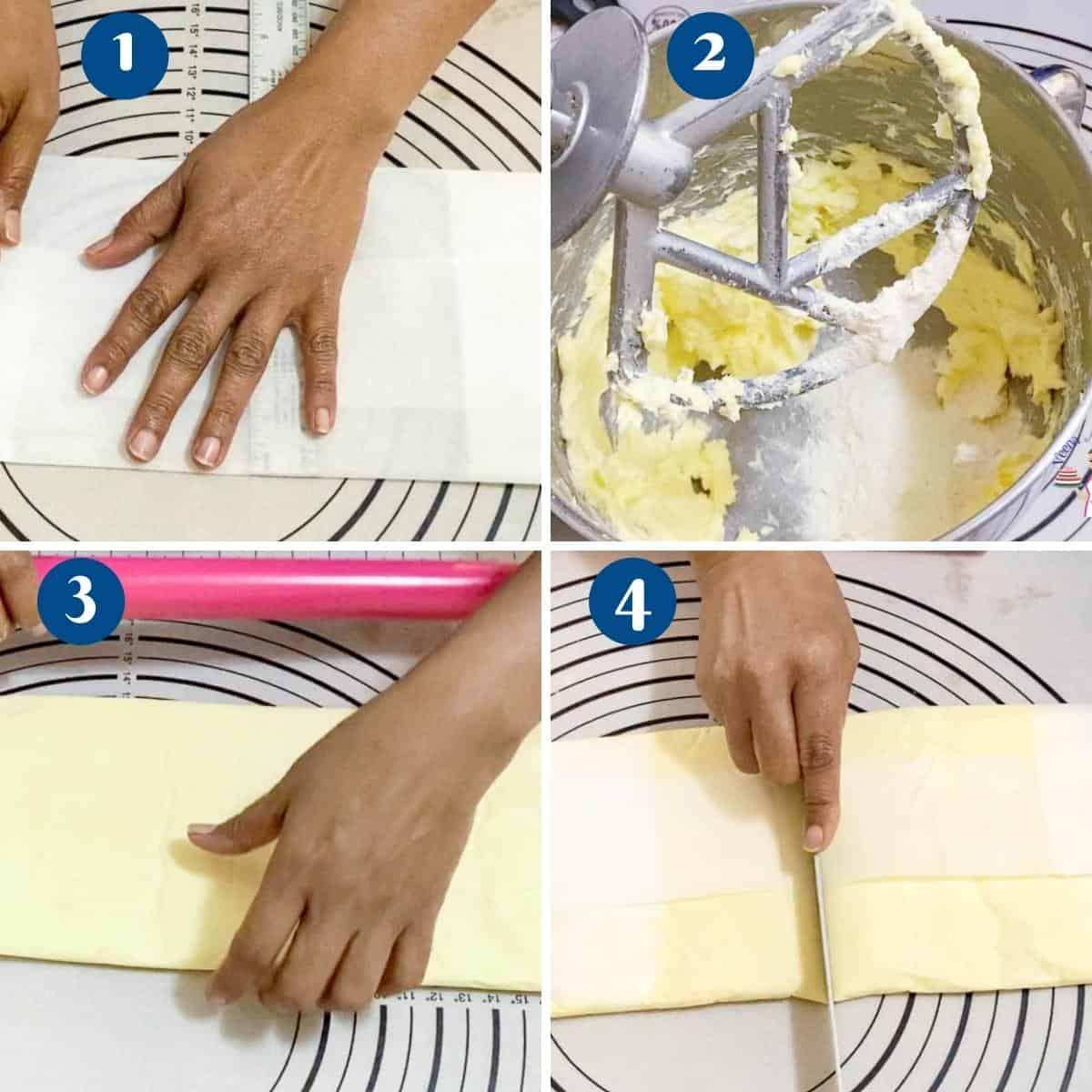 Progress Pictures preparing the butter block for Danish dough.