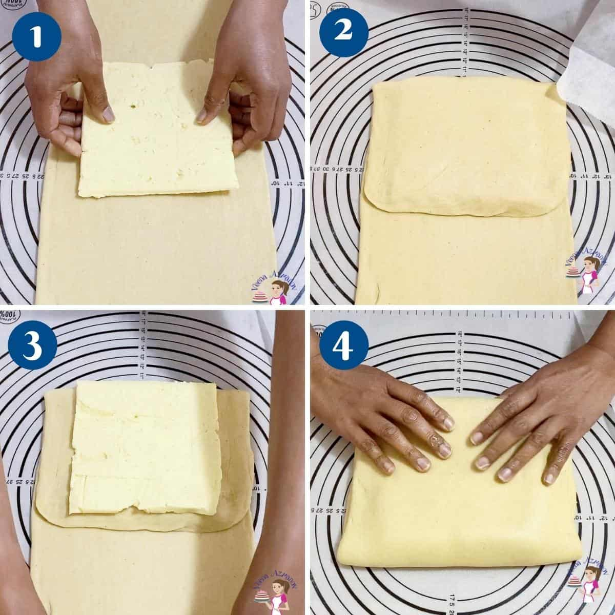 Progress pictures collage folding the butter into Danish dough.