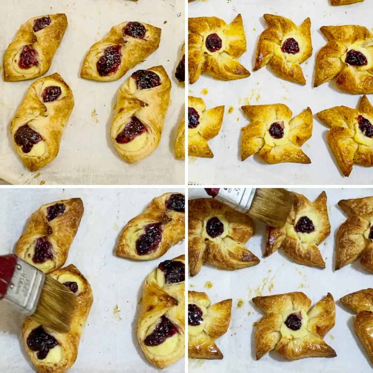Progress pictures collage glazing the Danish pastries.
