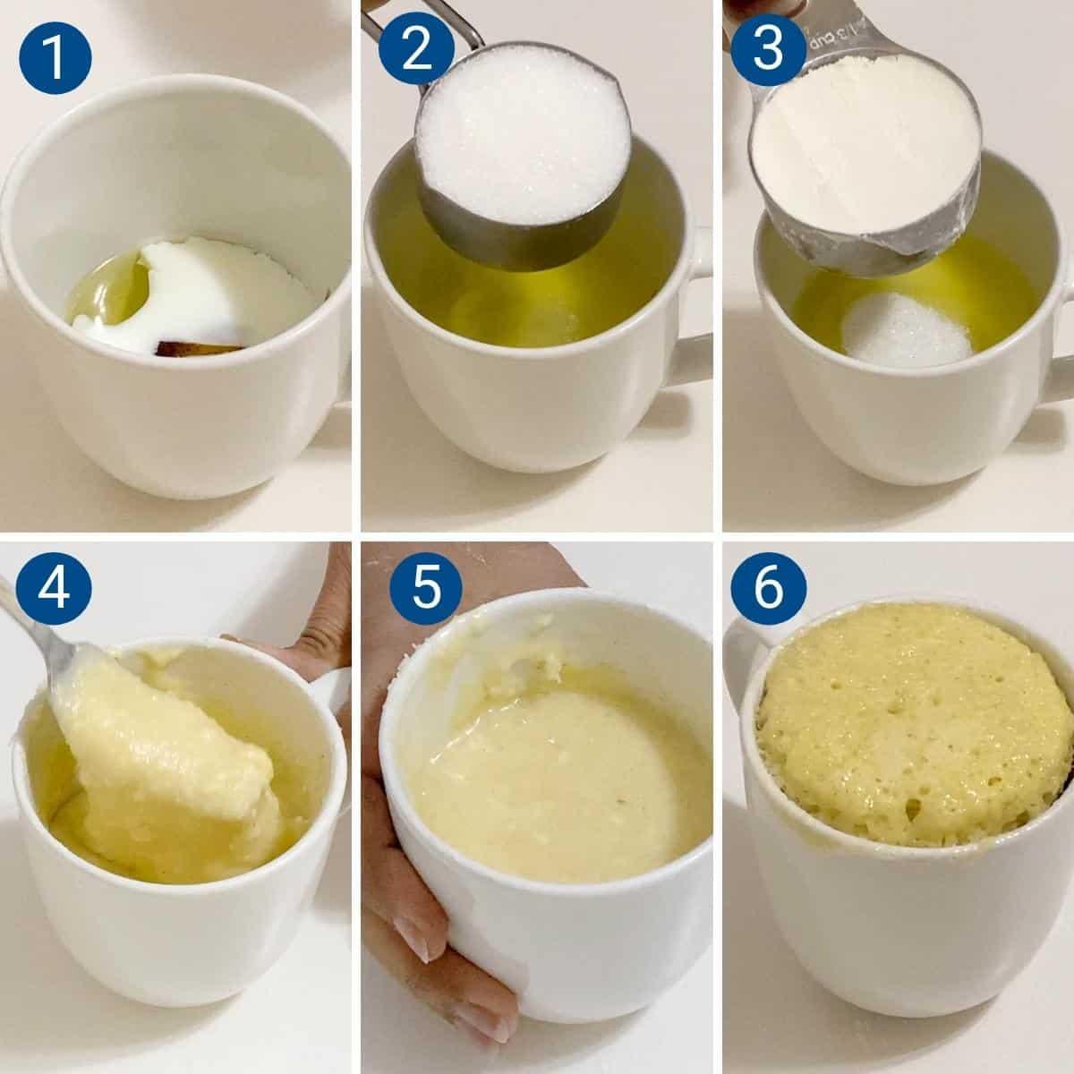 Progress Pictures Collage for vanilla mug cake.