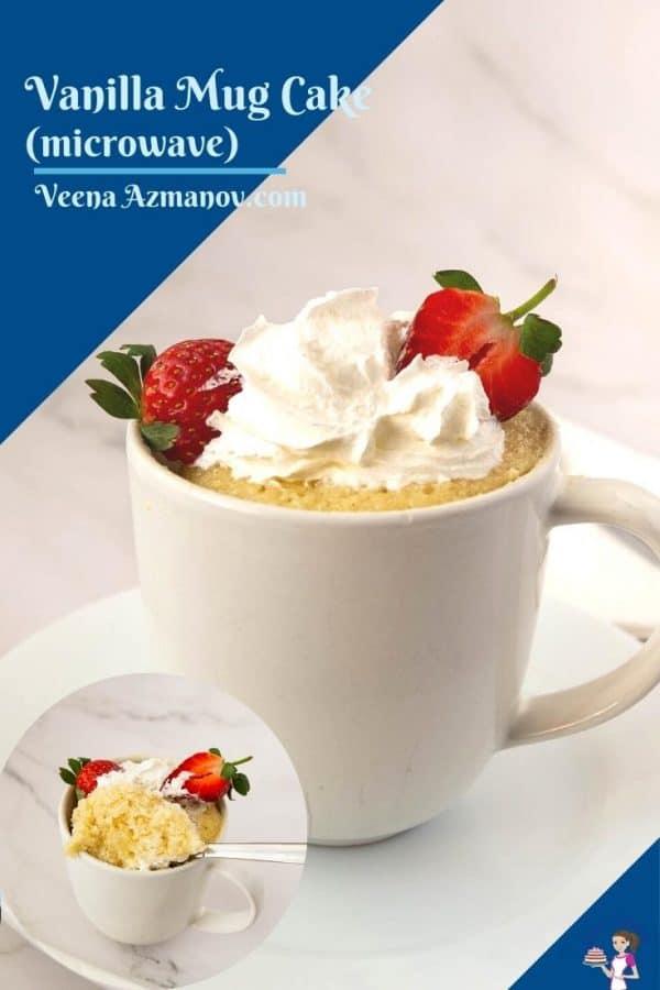Mug cake in a mug with whipped cream