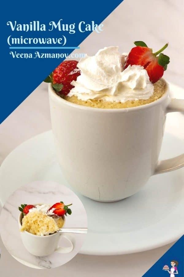 Pinterest image for vanilla mug cake