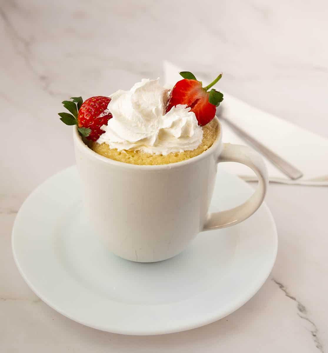 Vanilla mug cake in a mug