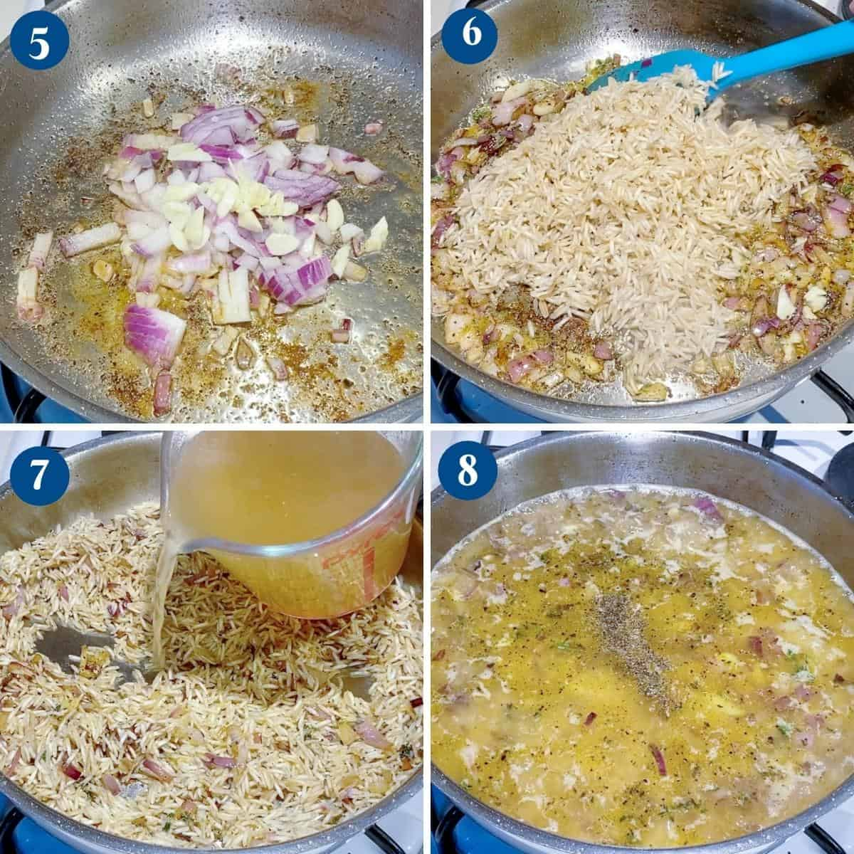 Progress pictures collage for chicken with rice.