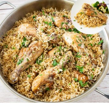 Skillet with chicken and rice.