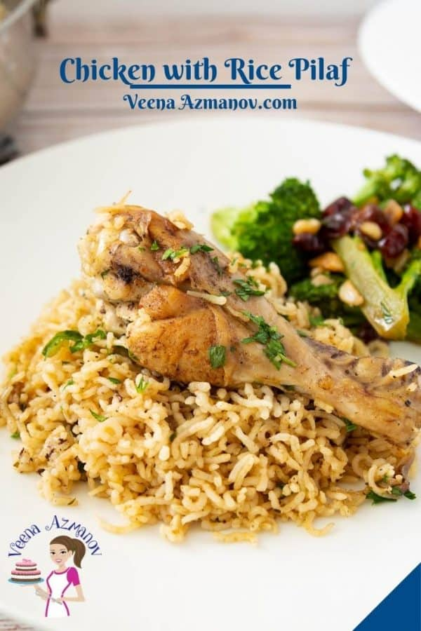 Pinterest image for chicken and rice.
