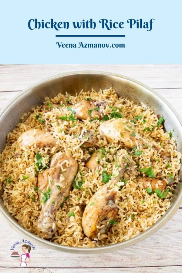 Pinterest image for rice with chicken.