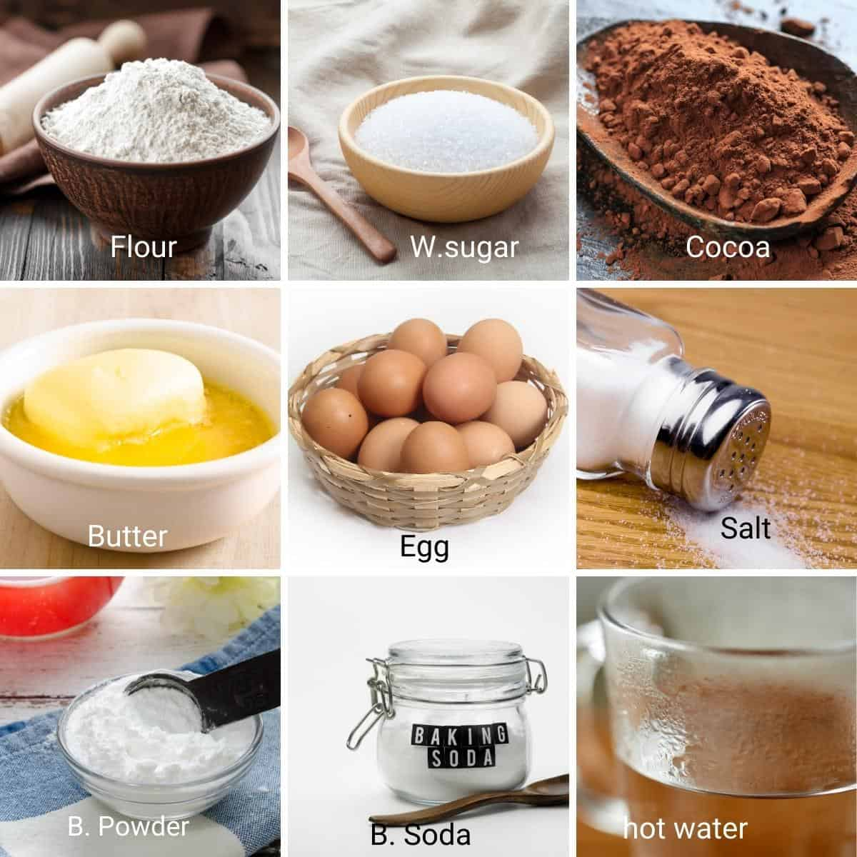 Ingredients shot collage for chocolate mug cake.