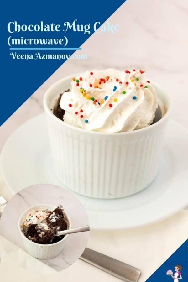 Microwave mug cake image for pinterest