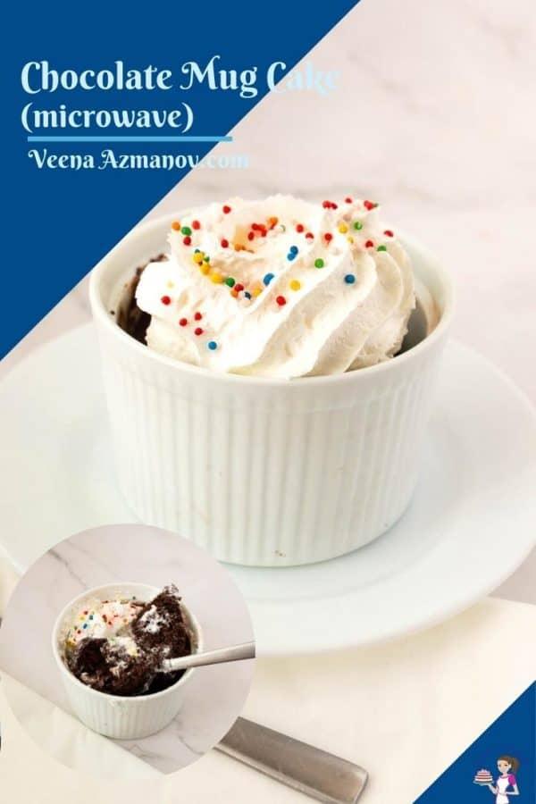 Pinterest image for microwave mug cake.